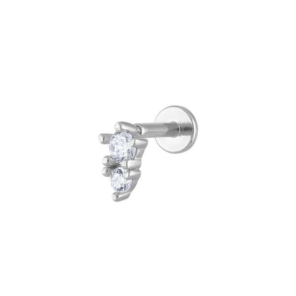 Gaia Threaded Flat Back Earring in Silver