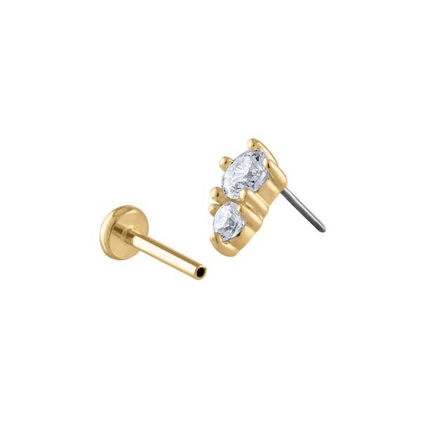 Gaia Push Pin Flat Back Earring in Gold