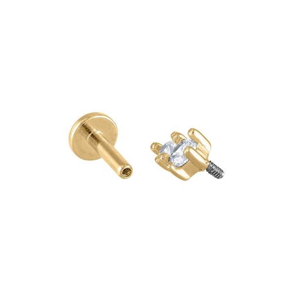 Gaia Threaded Flat Back Earring in Gold
