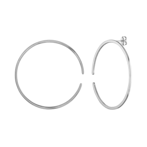 Large Illusion Hoops in Sterling Silver