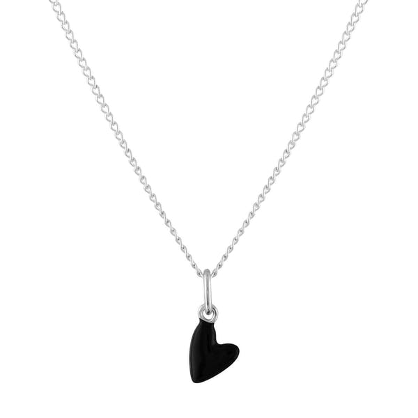 Black Heart Charm Necklace in Sterling Silver