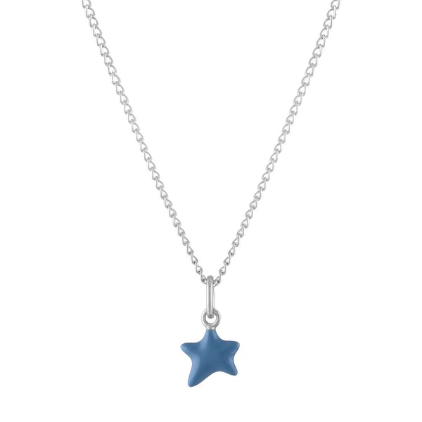 Itty Bitty Turquoise Wishing Star Charm Necklace in Sterling Silver