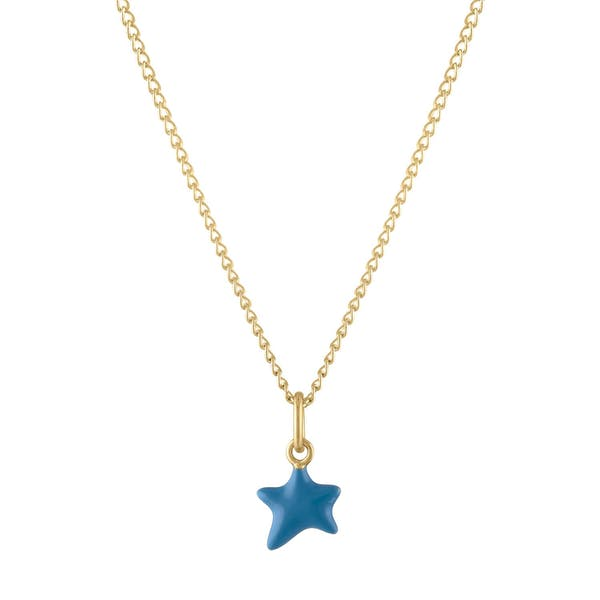 Itty Bitty Turquoise Wishing Star Charm Necklace in Gold
