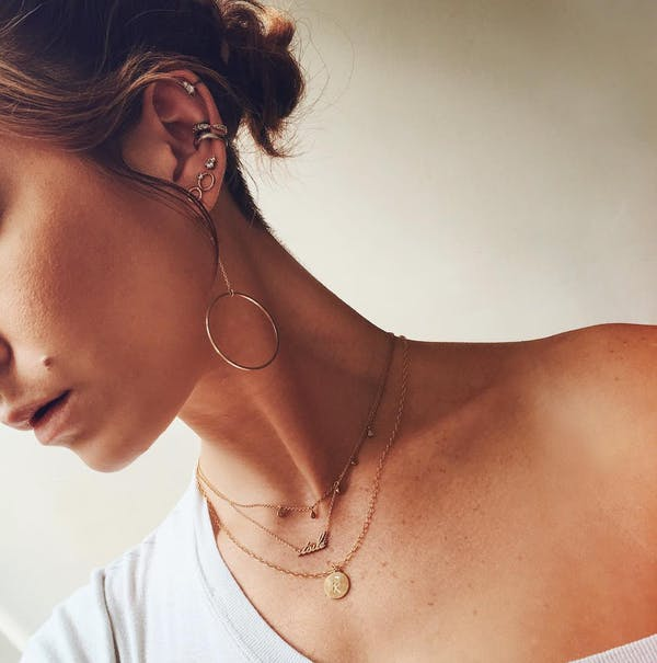 Gaia Crystal Studs in 14k Gold on model
