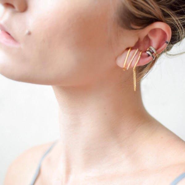 Celestial Suspender Chain Earrings in Gold Vermeil on model