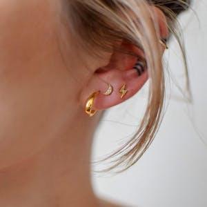 Luna Hoop Earrings in Gold Vermeil on model