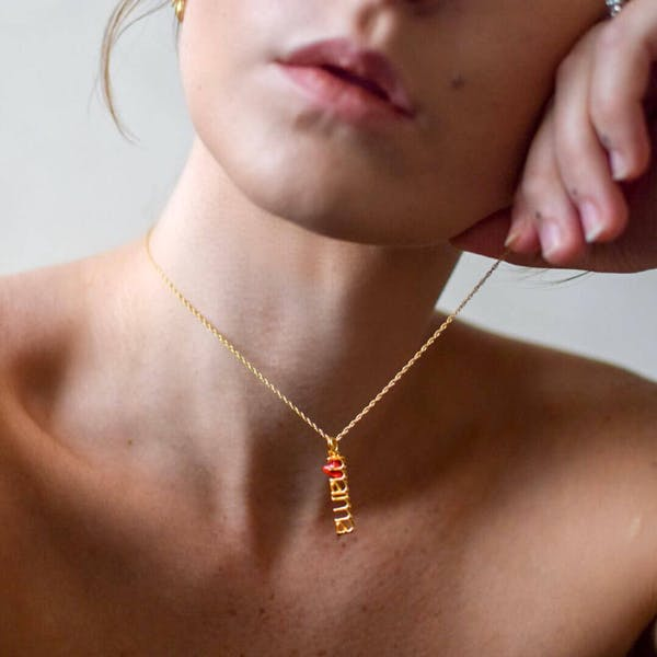 Mama Charm in Gold Vermeil on model