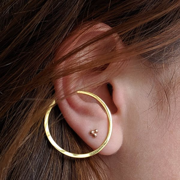 Illusion Hoops in Sterling Silver on model