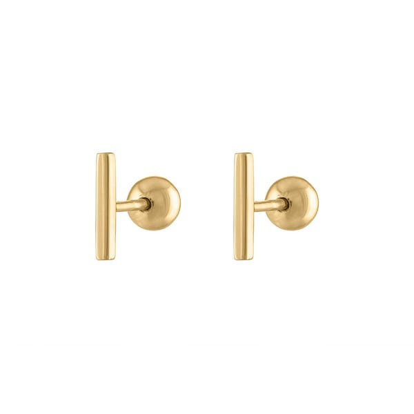 Little Bar Ball Back Earrings in 14k Gold