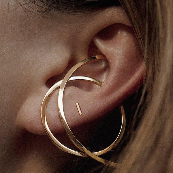 Little Bar Ball Back Earrings in 14k Gold on model