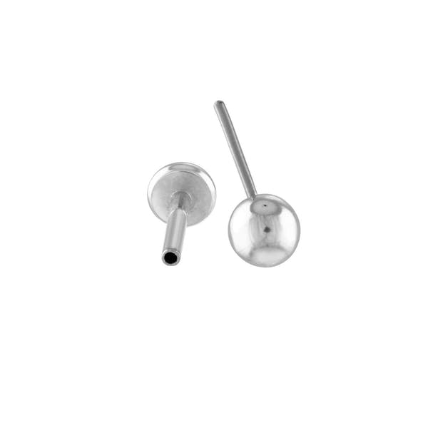 Little Sphere Push Pin Flat Back Earring in Silver