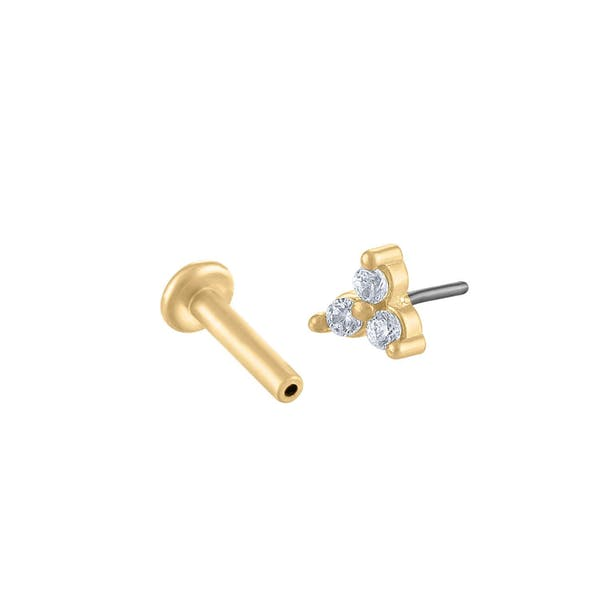 Mini Crystal Trinity Push Pin Flat Back Earring