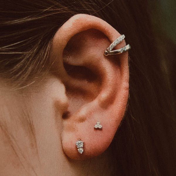 Mini Crystal Trinity Studs in Sterling Silver on model