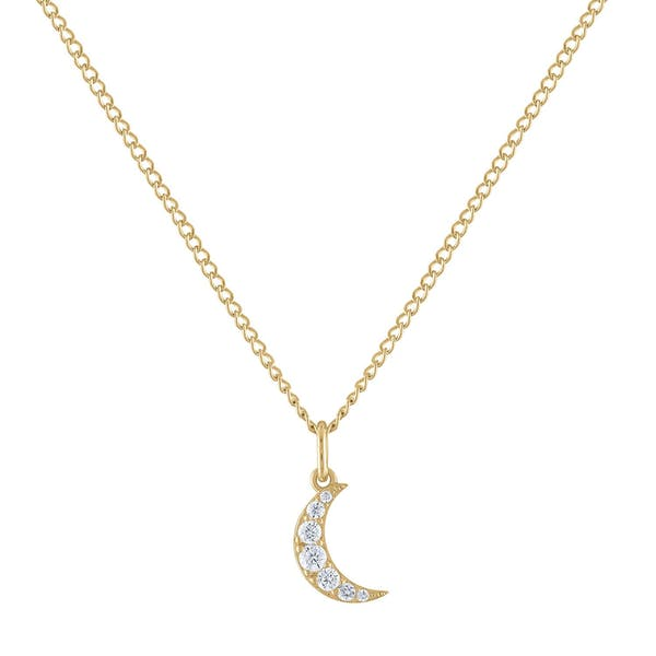 Mini Pave Moon Charm Necklace in Gold Vermeil