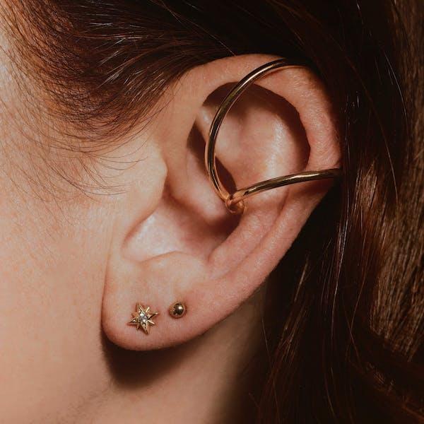 Modernist Ear Cuff in Sterling Silver on model