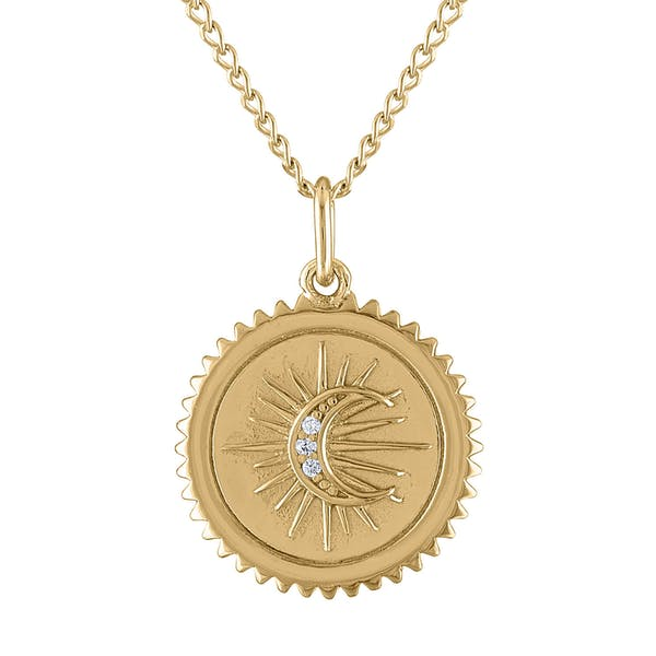 Pave Moon Medallion Necklace in Gold Vermeil