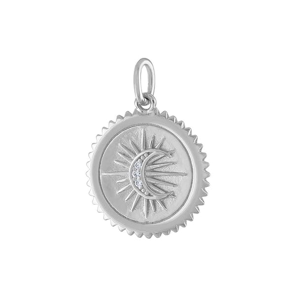 Pave Moon Medallion in Sterling Silver