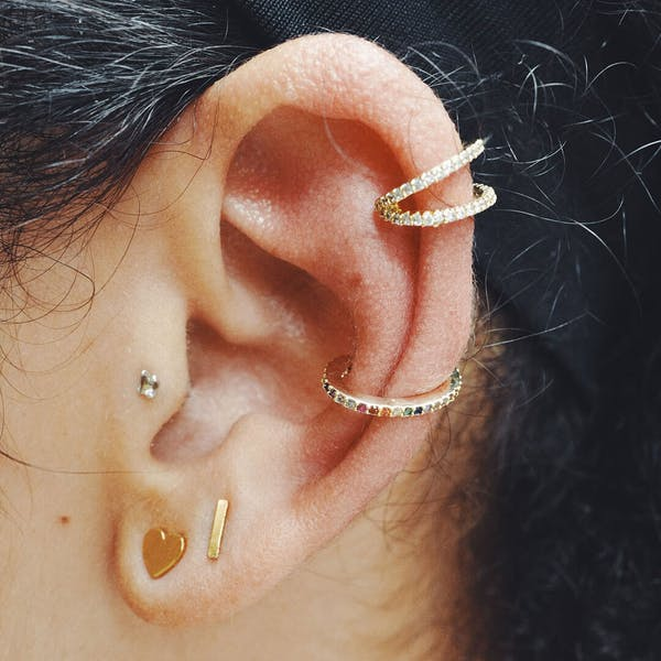 Rainbow Eternity Ear Cuff in Sterling Silver on model