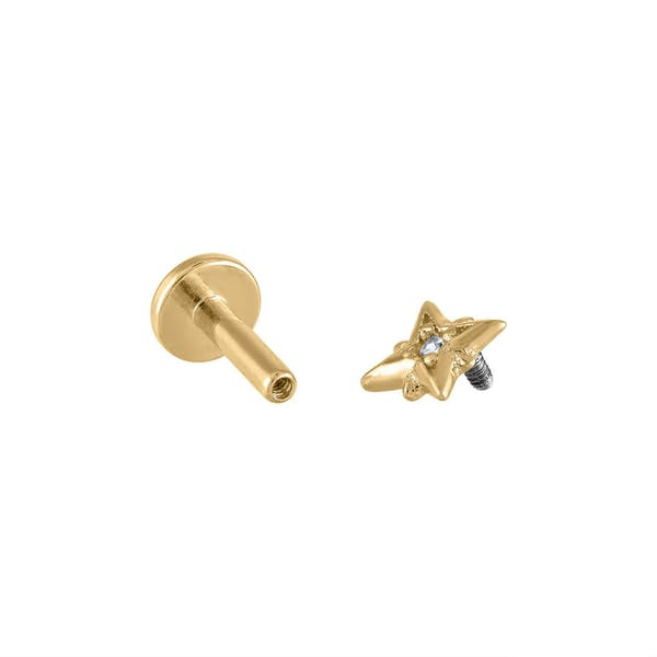 North Star Threaded Flat Back Earring in Gold