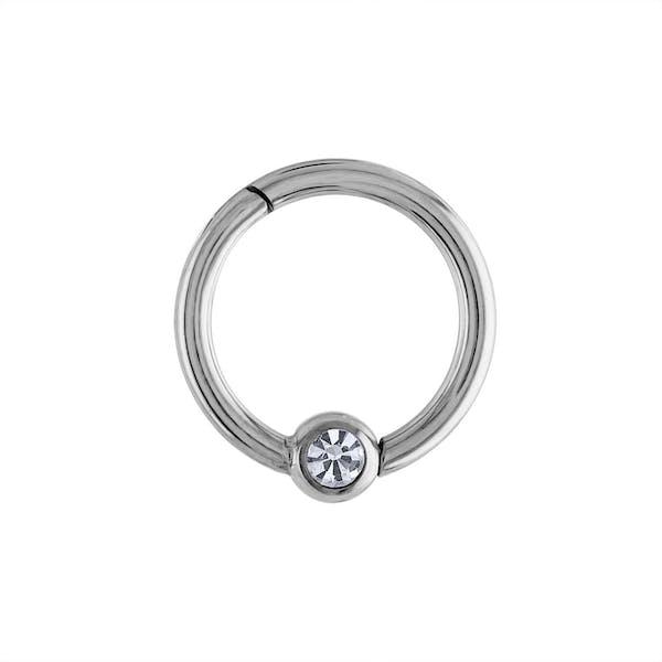 Orbital Crystal Cartilage Hoop in Silver