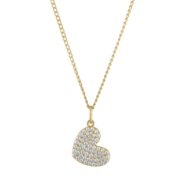Pave Heart Charm Necklace in Gold