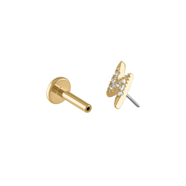 Pave Lightning Push Pin Flat Back Earring in Gold