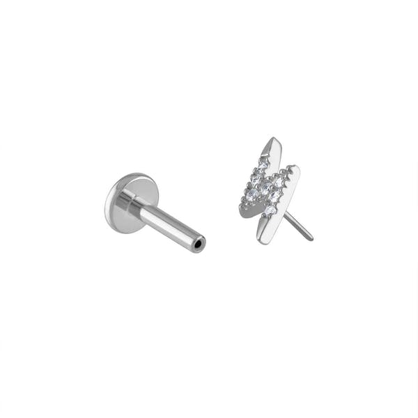 Pave Lightning Push Pin Flat Back Earring in Silver