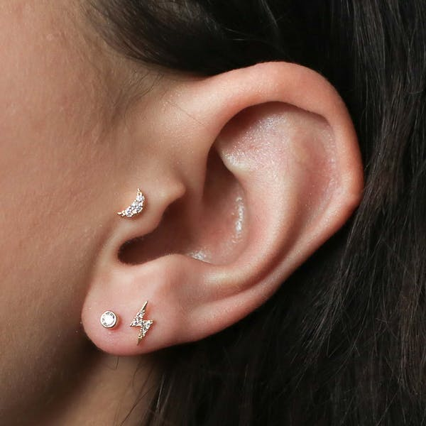 Pave Moon and Lightning Studs on model