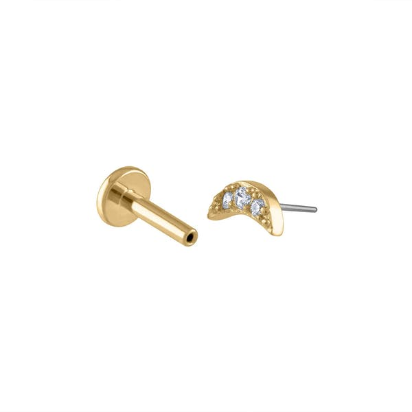 Pave Moon Push Pin Flat Back Earring in Gold