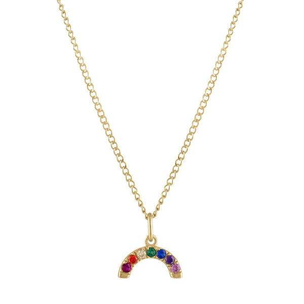 Rainbow Charm Necklace in Gold