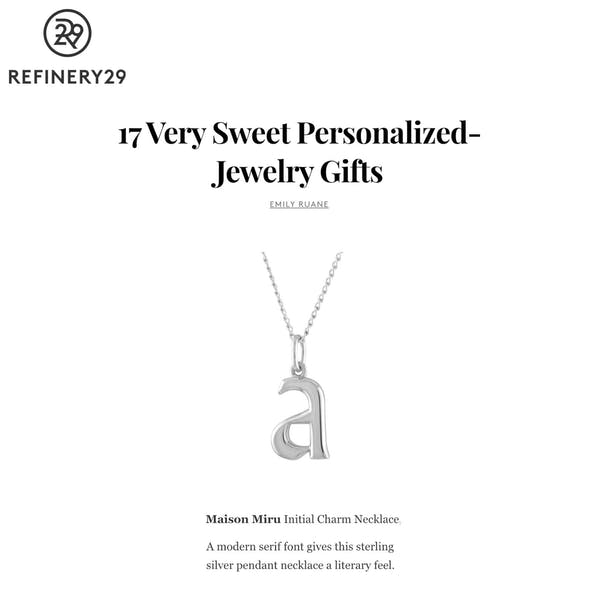 Our Initial Charm Necklace as seen on Refinery29