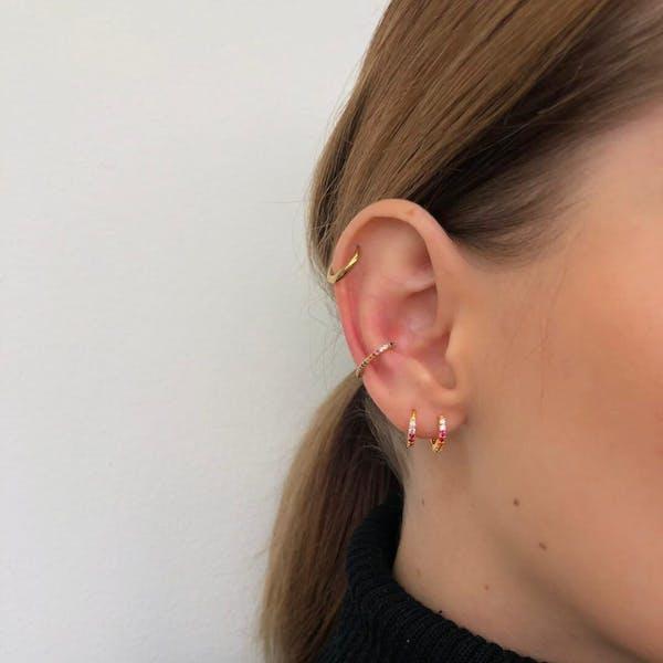 Rainbow Mini Eternity Hoop Earrings on model