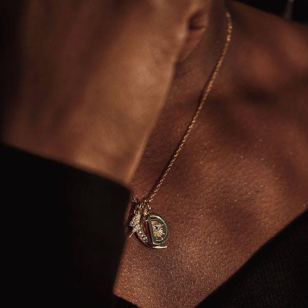 Evil Eye Medallion in Gold Vermeil on model
