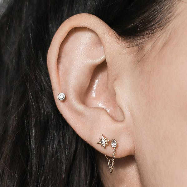 Tiny Crystal Push Pin Flat Back Earring on model