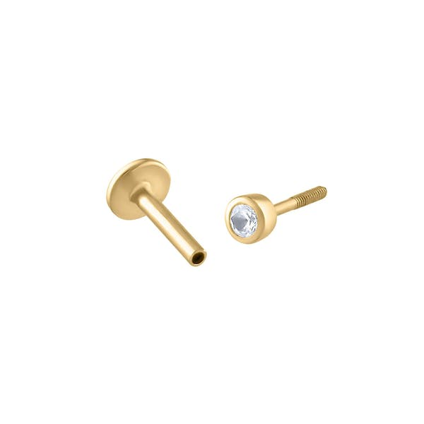 Tiny Sapphire Threaded Flat Back Earring in 14k Gold
