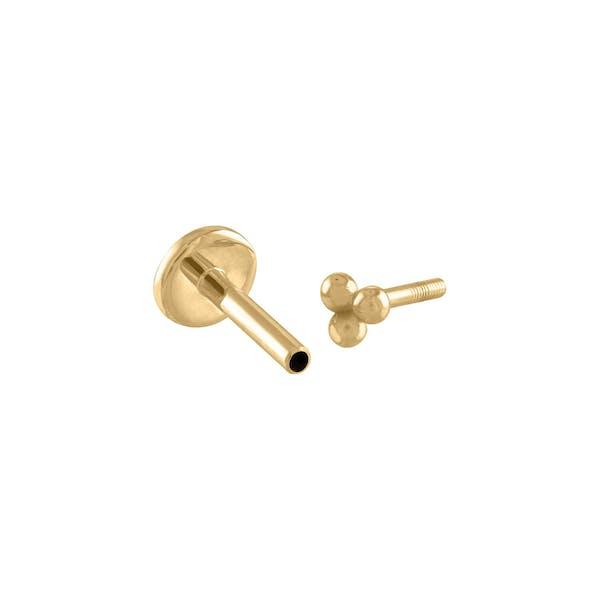 Tiny Trinity Threaded Flat Back Earring in 14k Gold